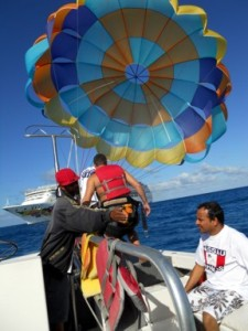 Getting harnassed into the parasail